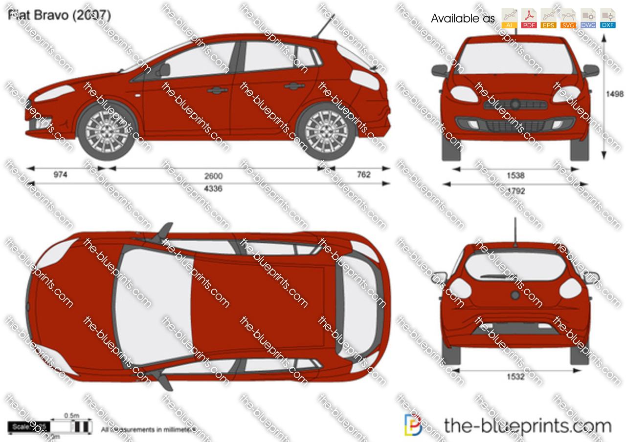 Fiat Bravo Vector Drawing