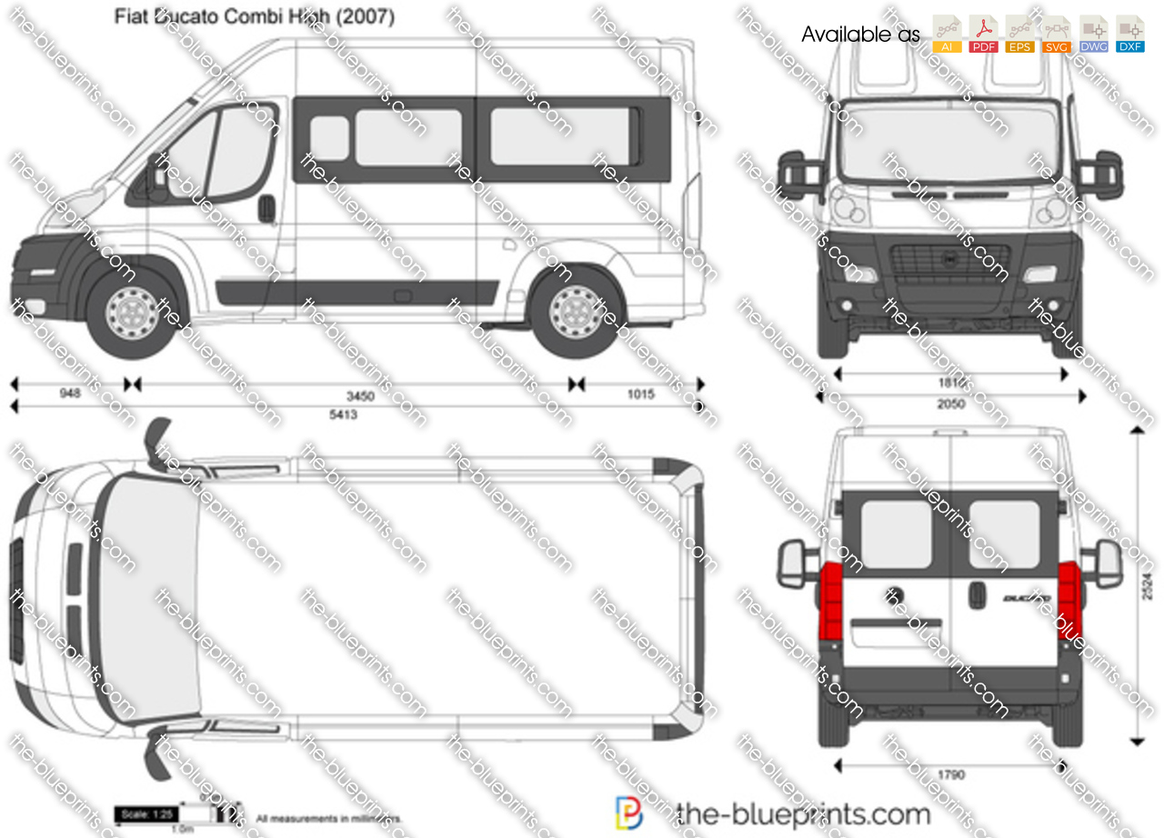 fiat ducato combi high vector drawing. Black Bedroom Furniture Sets. Home Design Ideas