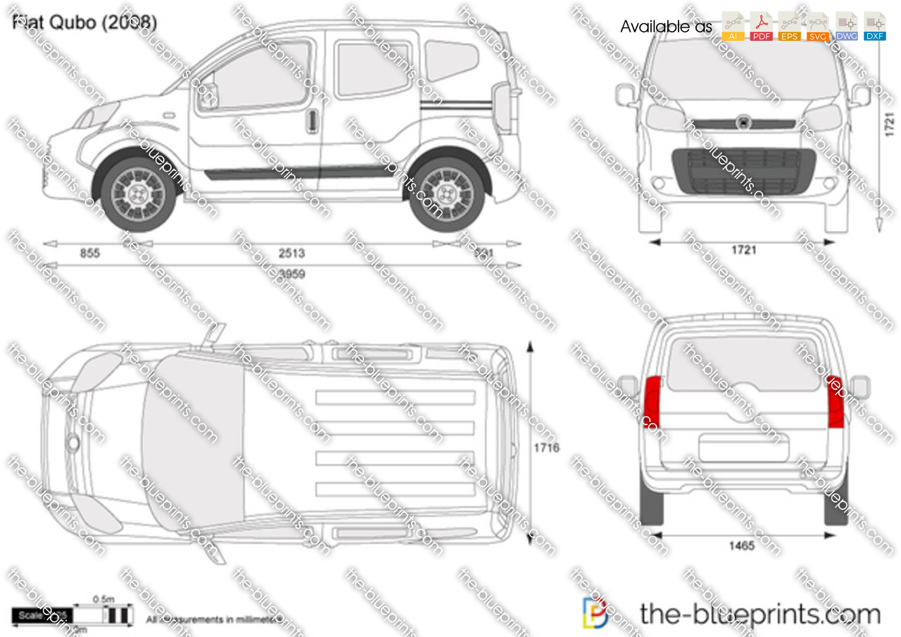 Fiat Qubo Vector Drawing
