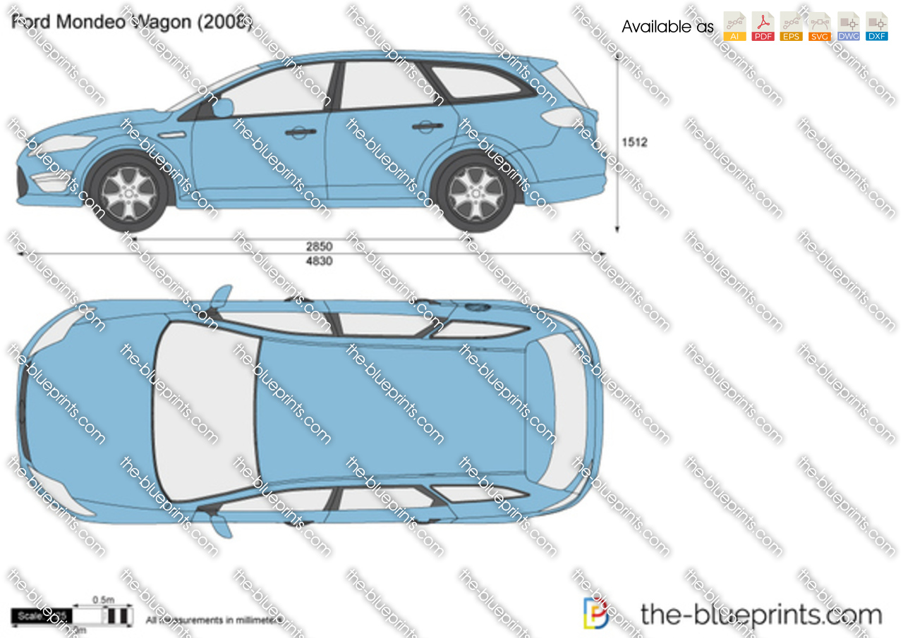 Ford Mondeo Wagon Vector Drawing