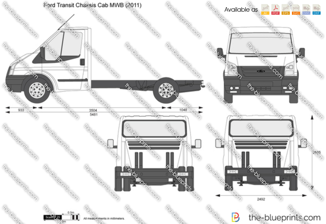 the vector drawing ford transit chassis cab mwb. Black Bedroom Furniture Sets. Home Design Ideas
