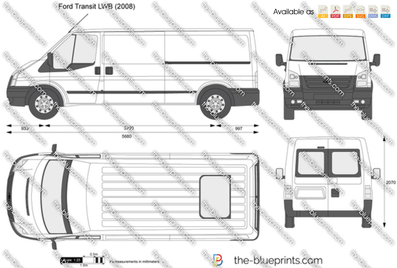 Ford Transit Lwb Vector Drawing