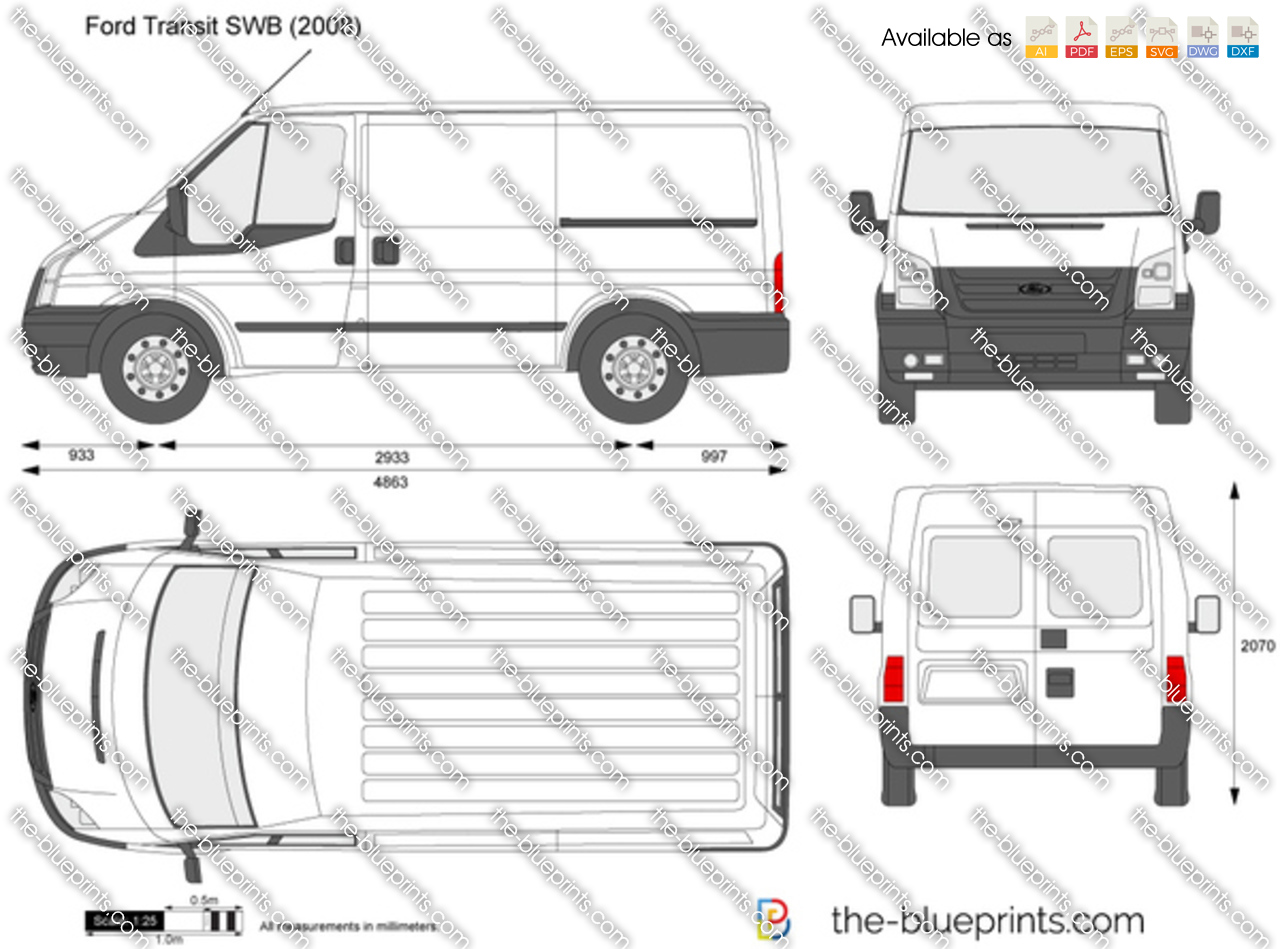 the vector drawing ford transit swb. Black Bedroom Furniture Sets. Home Design Ideas