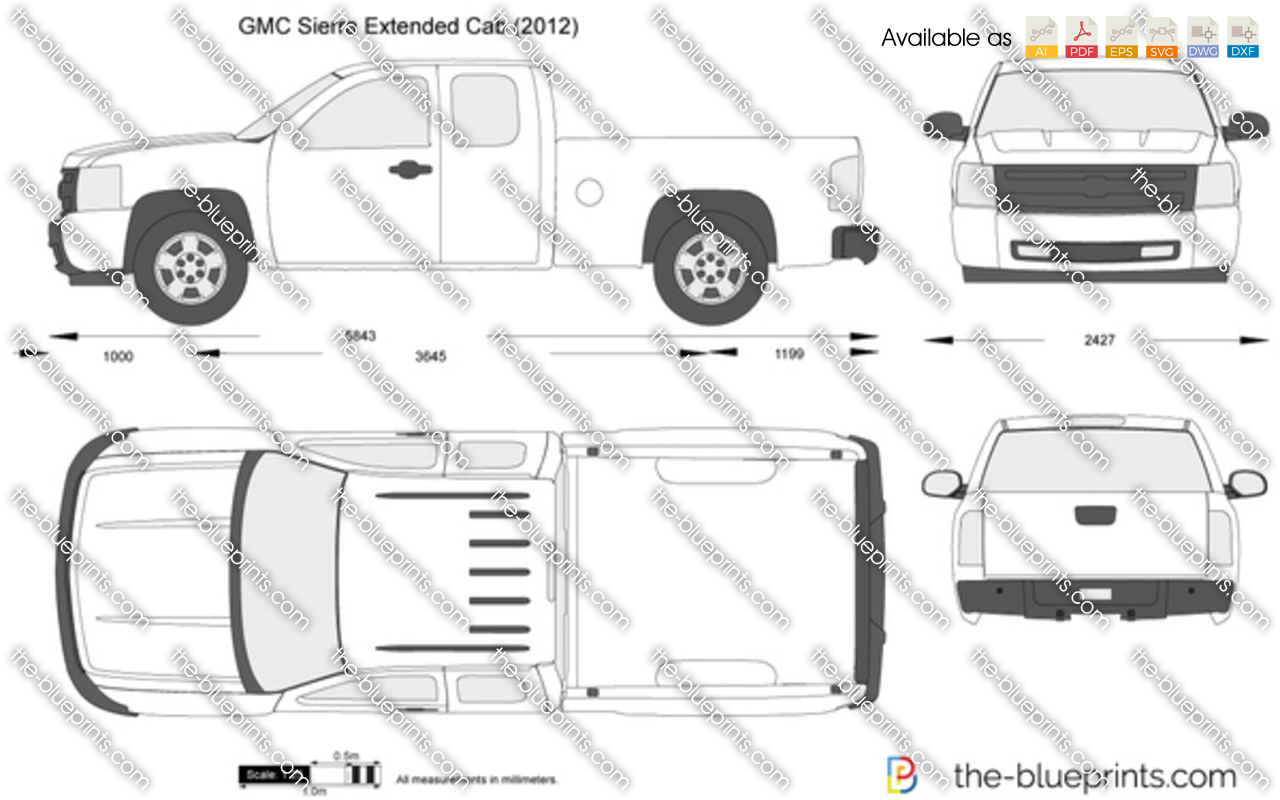 gmc sierra extended cab vector drawing
