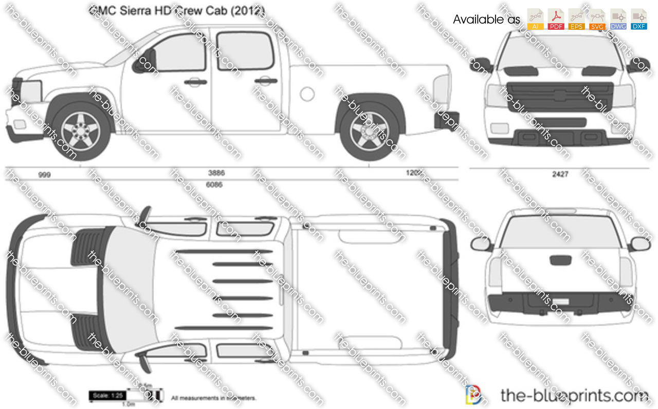 gmc sierra hd crew cab vector drawing
