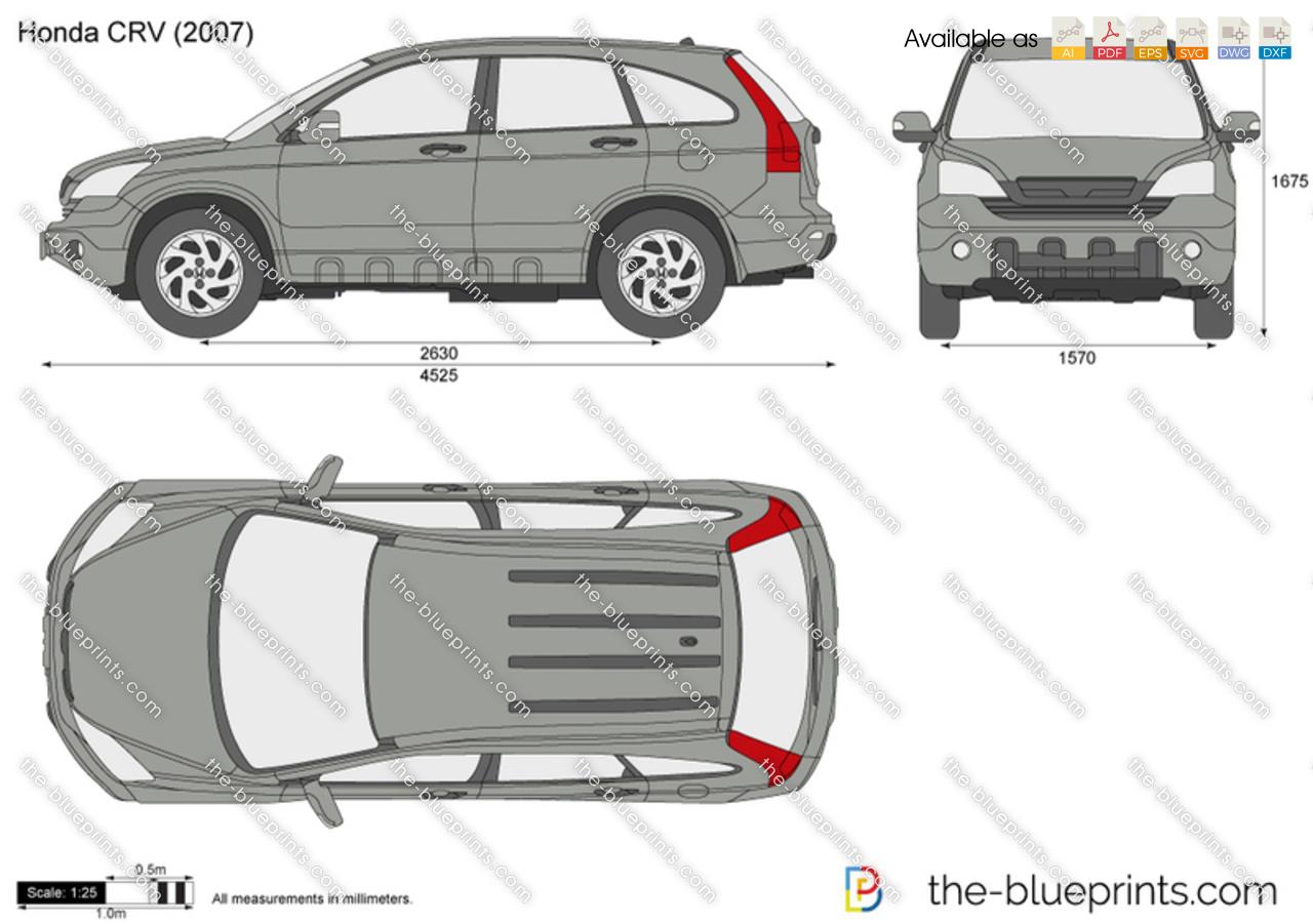 Honda Cr V 5 Door Vector Drawing