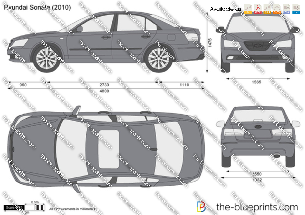 Hyundai Sonata Vector Drawing
