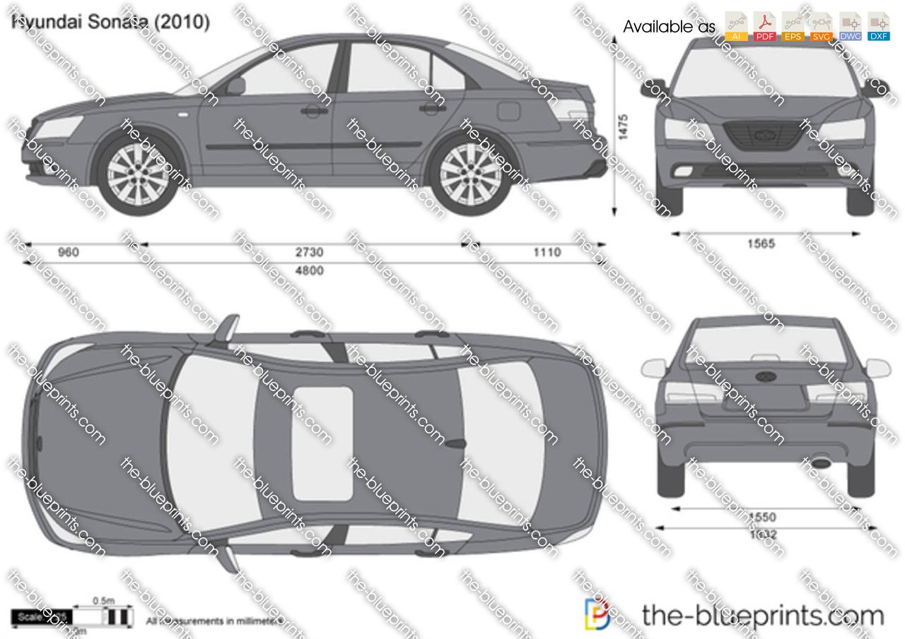 Hyundai Sonata Vector Drawing