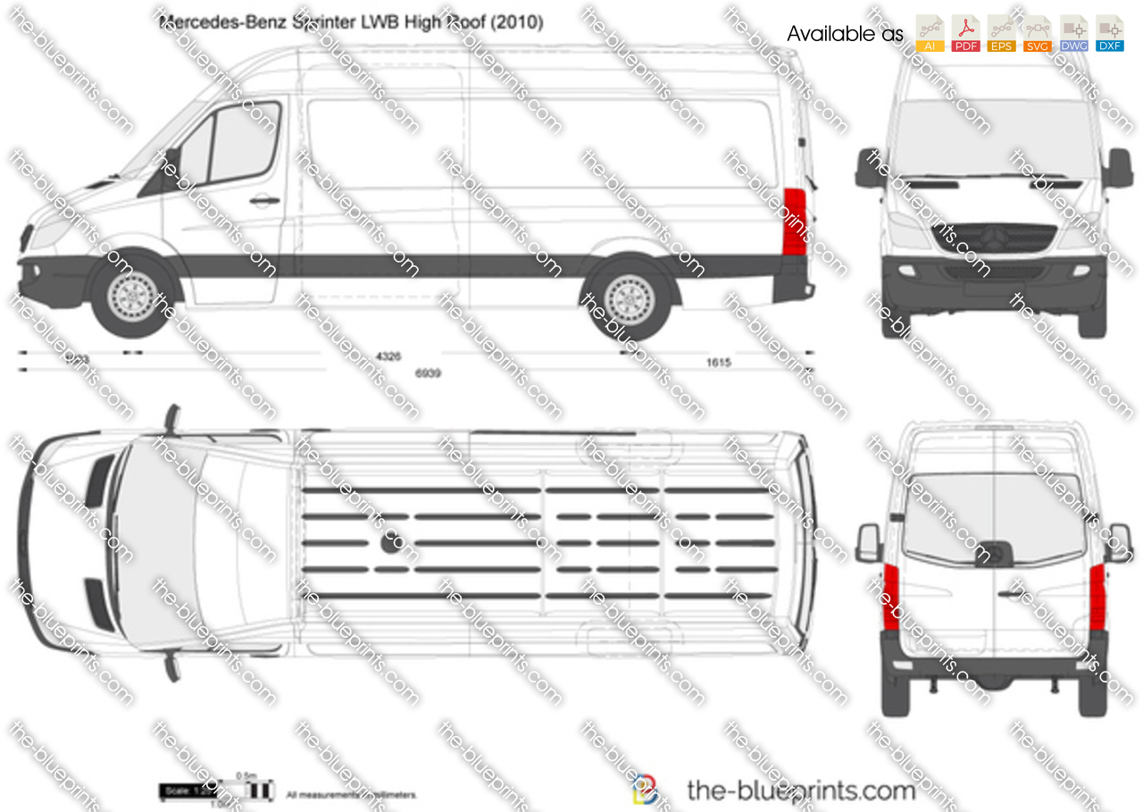 the vector drawing mercedes benz sprinter lwb high roof. Black Bedroom Furniture Sets. Home Design Ideas