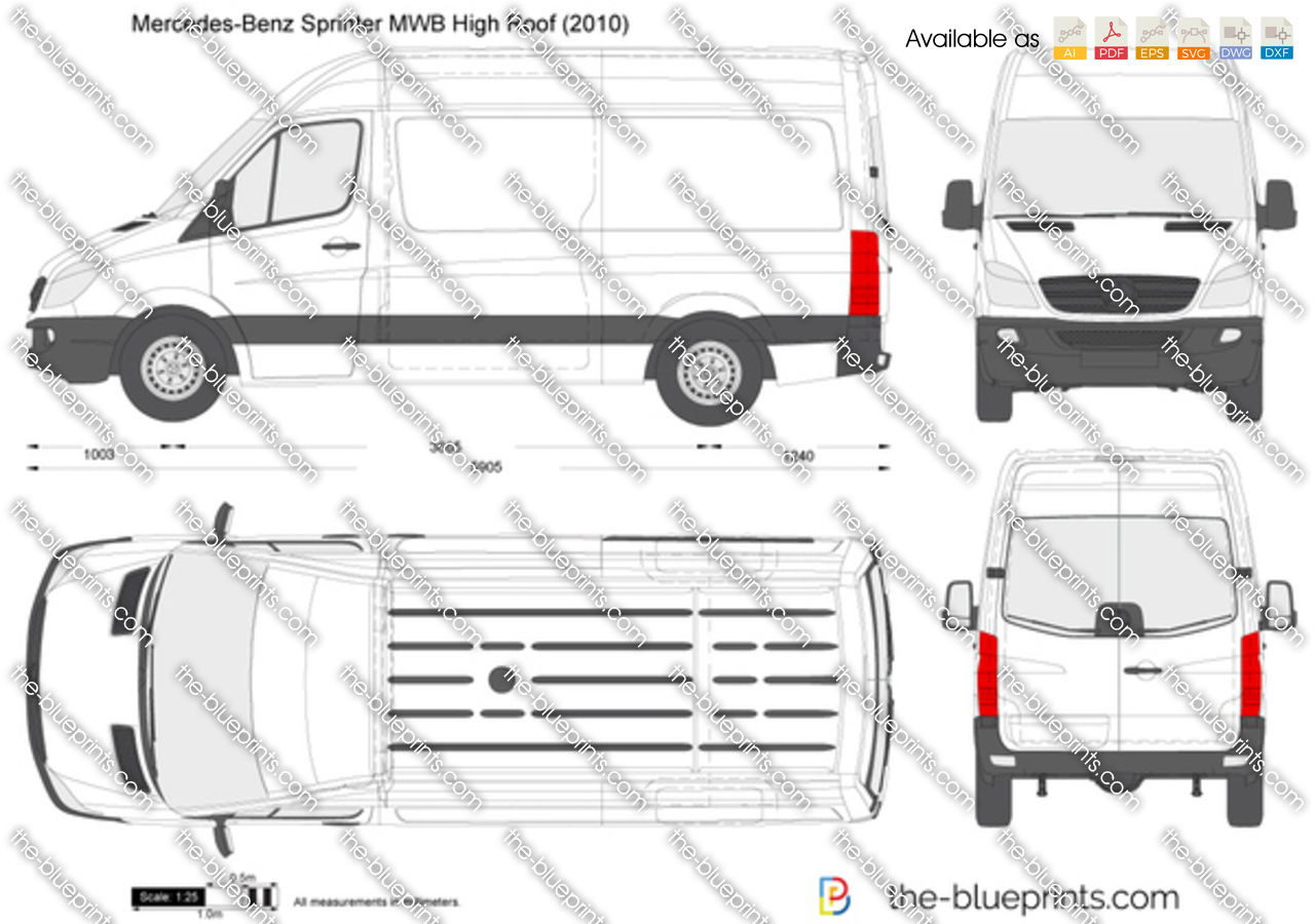 mercedes benz sprinter mwb high roof vector drawing. Black Bedroom Furniture Sets. Home Design Ideas