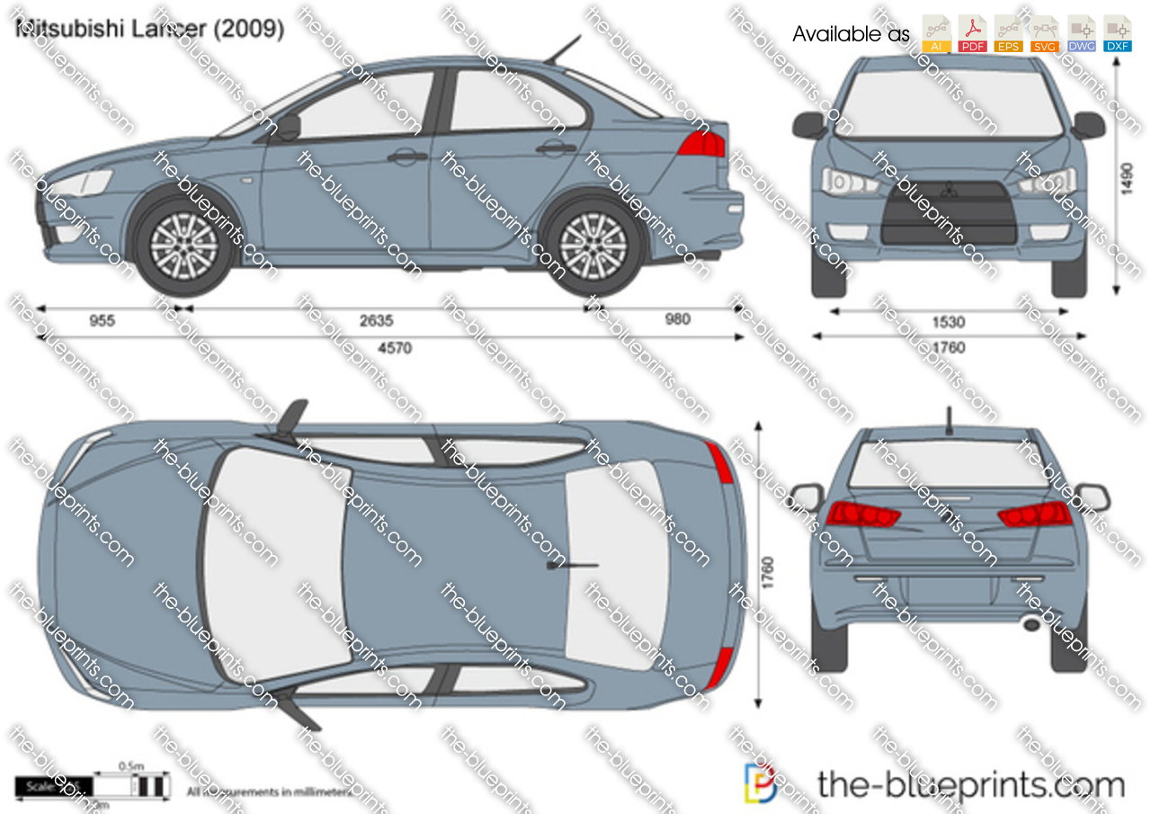 Mitsubishi Lancer Vector Drawing