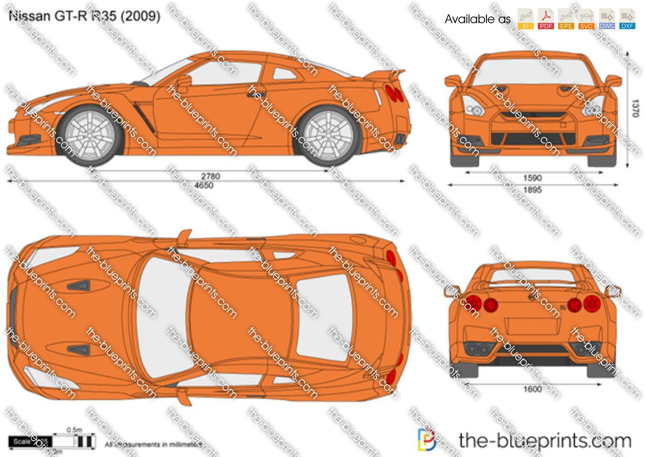 Nissan GT-R R35 vector drawing