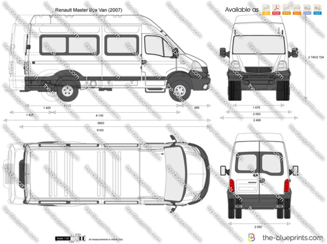 renault master box van vector drawing