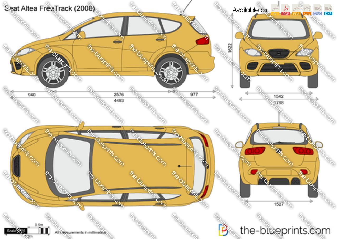 The vector drawing seat altea freetrack - Dimensiones seat ...