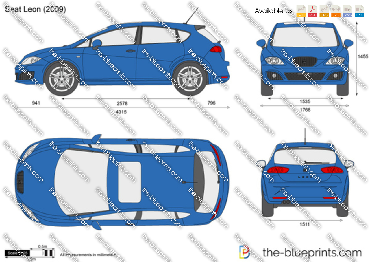 Seat Leon Vector Drawing