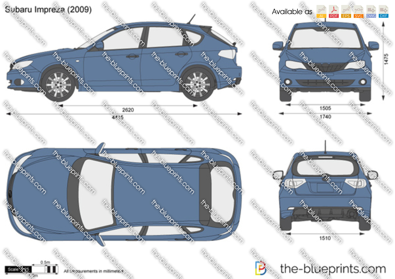 Subaru Impreza Vector Drawing