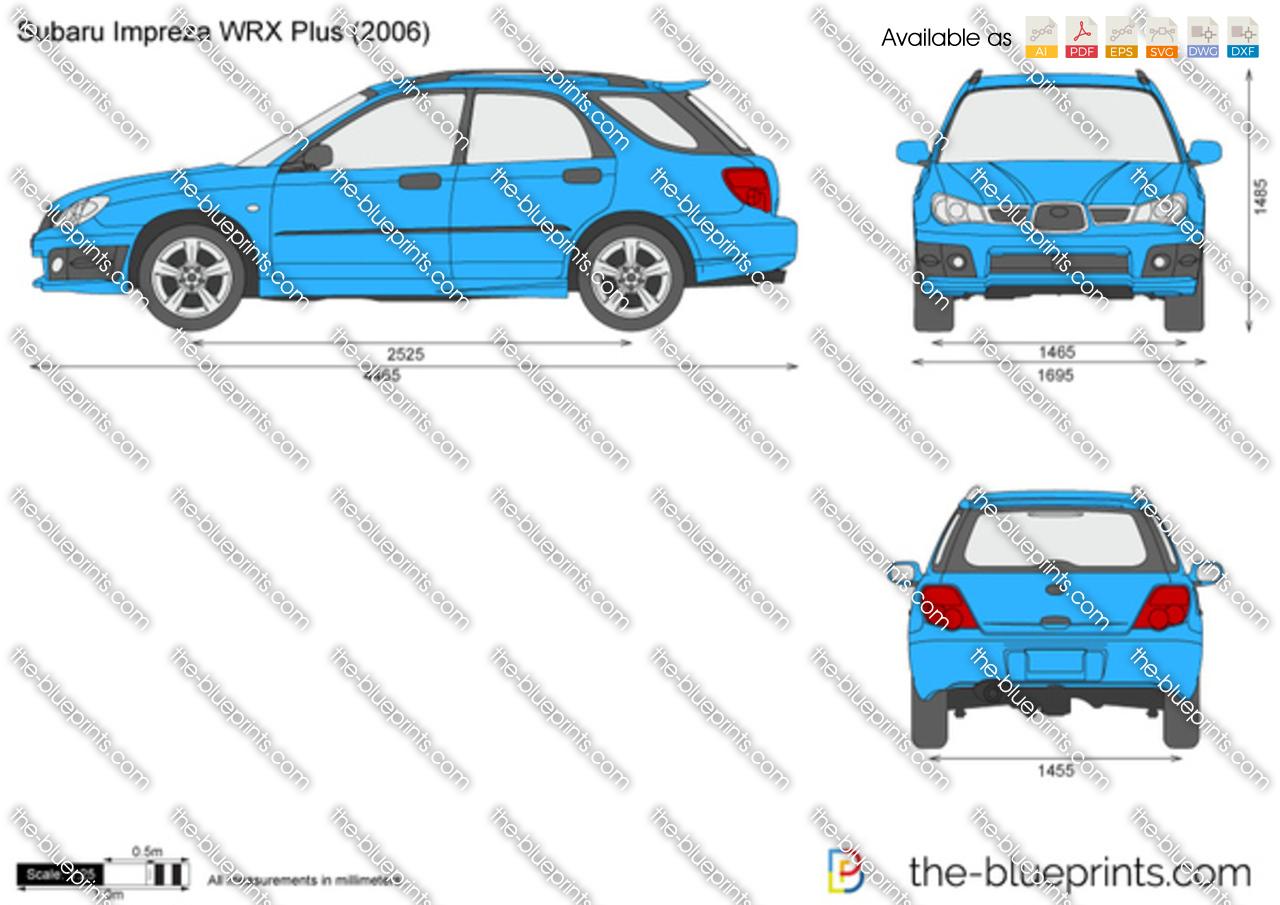 Subaru Impreza Wrx Plus Vector Drawing