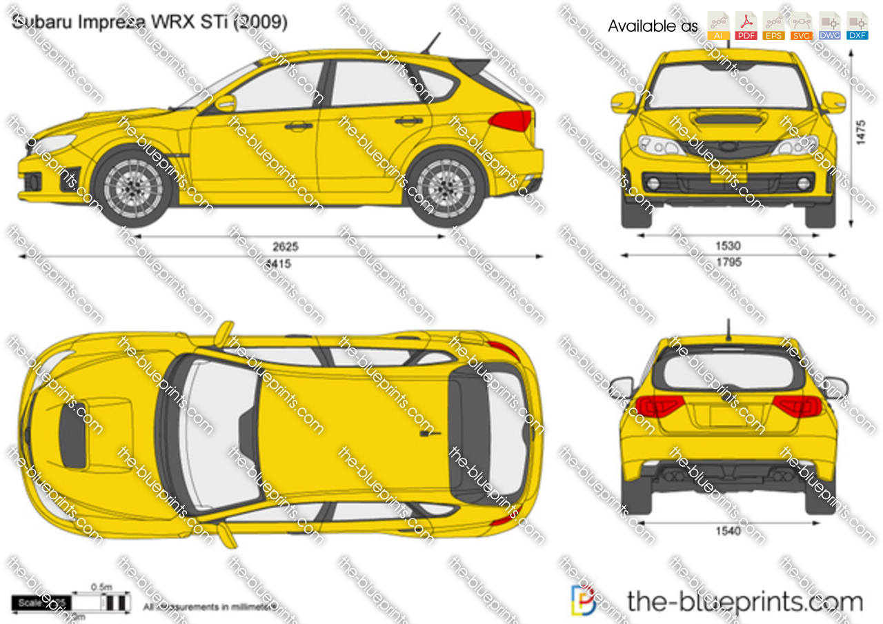 Subaru Impreza Wrx Sti Vector Drawing