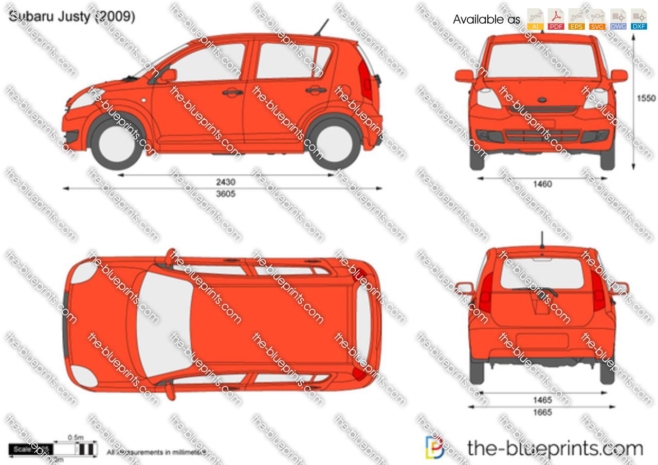 Subaru Justy Vector Drawing