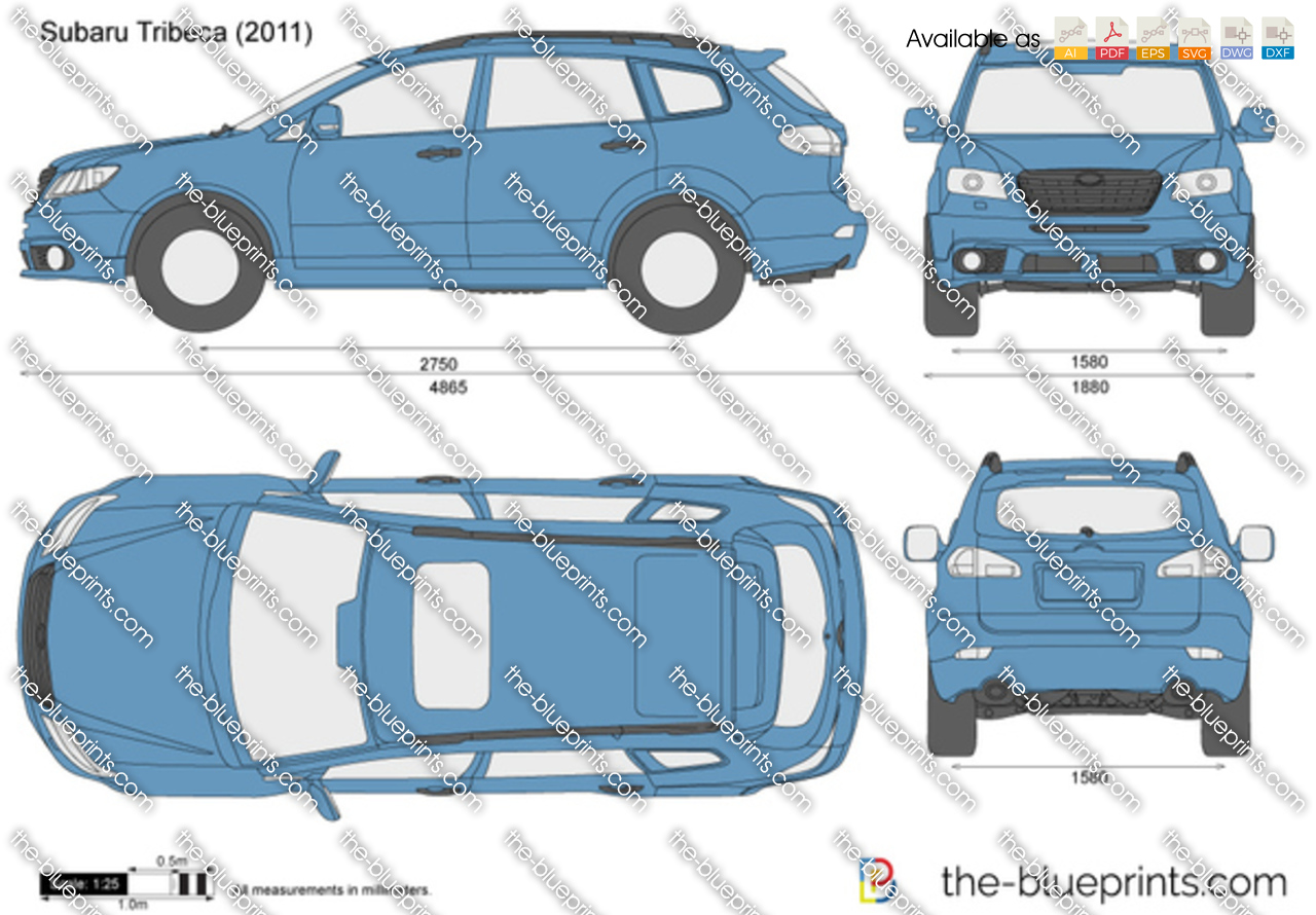 Subaru Tribeca Vector Drawing