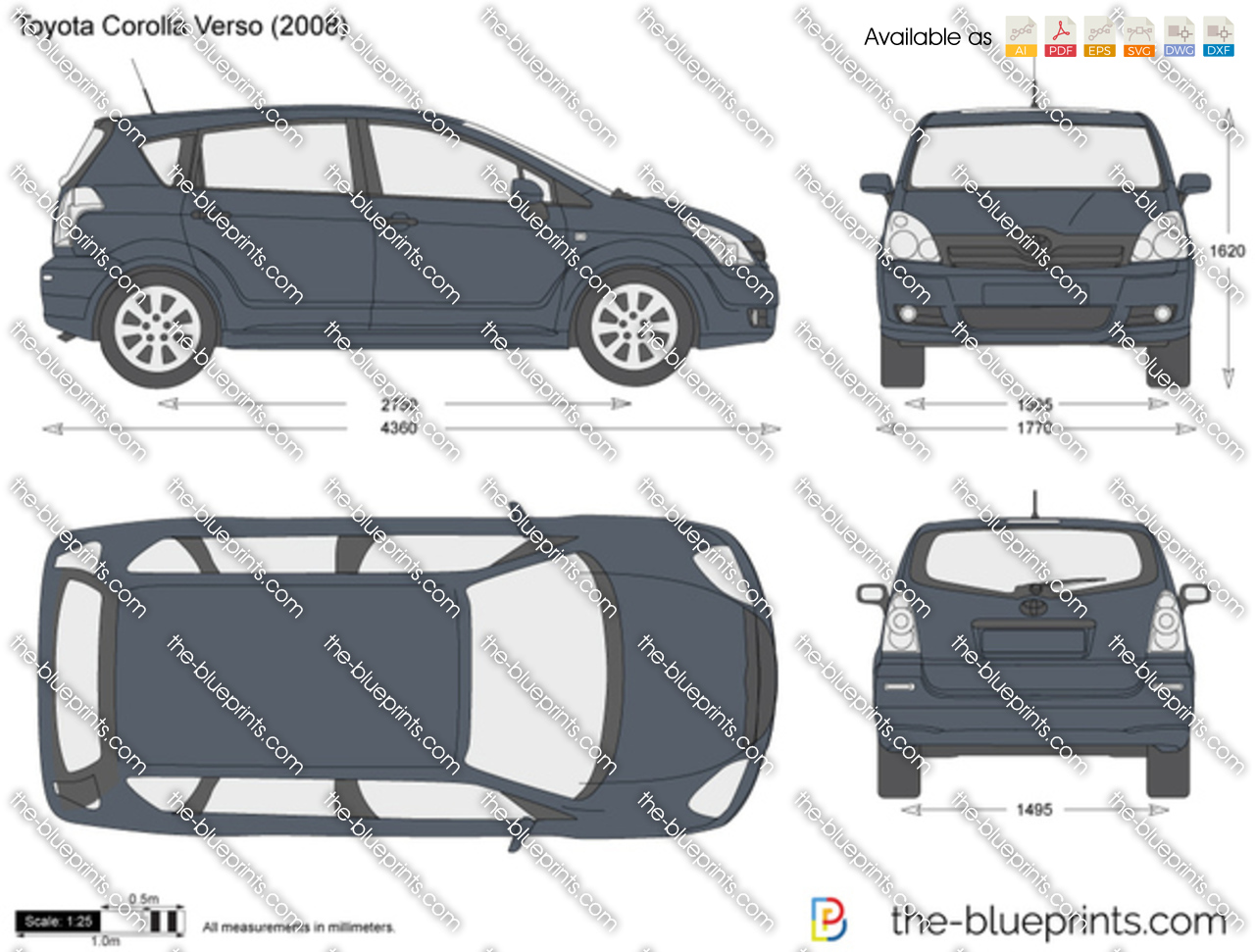 the vector drawing toyota corolla verso