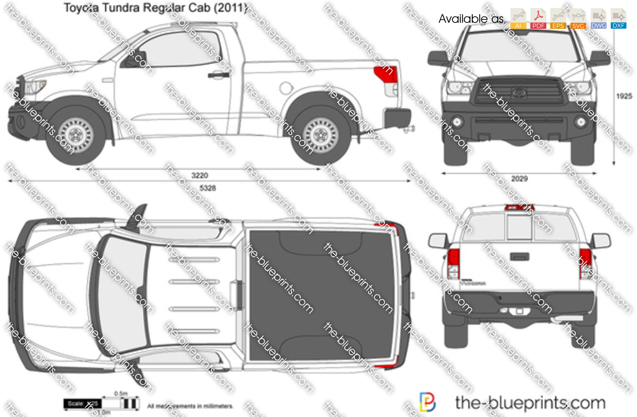 Toyota Tundra Regular Cab Vector Drawing