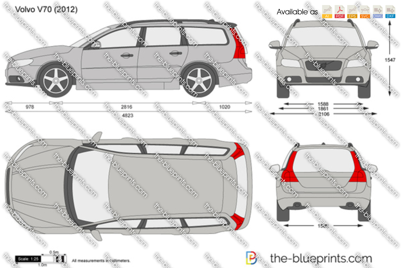 The Blueprints Com Vector Drawing Volvo V70