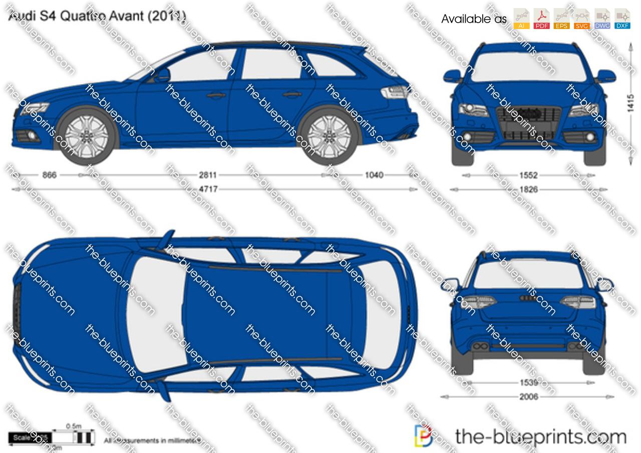 Audi S4 Quattro Avant Vector Drawing