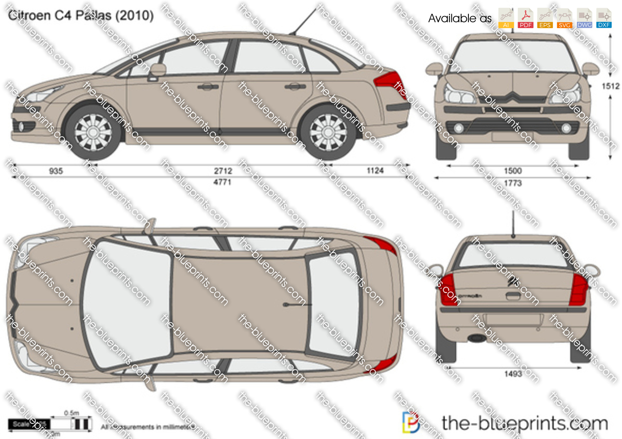 Citroen C4 Pallas Vector Drawing