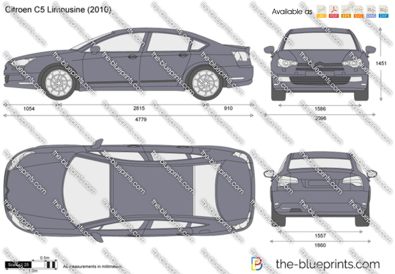 the vector drawing citroen c5 limousine. Black Bedroom Furniture Sets. Home Design Ideas