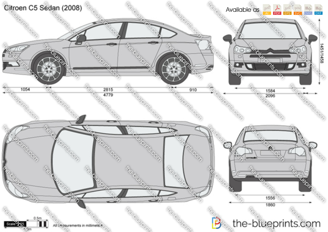the vector drawing citroen c5 sedan. Black Bedroom Furniture Sets. Home Design Ideas