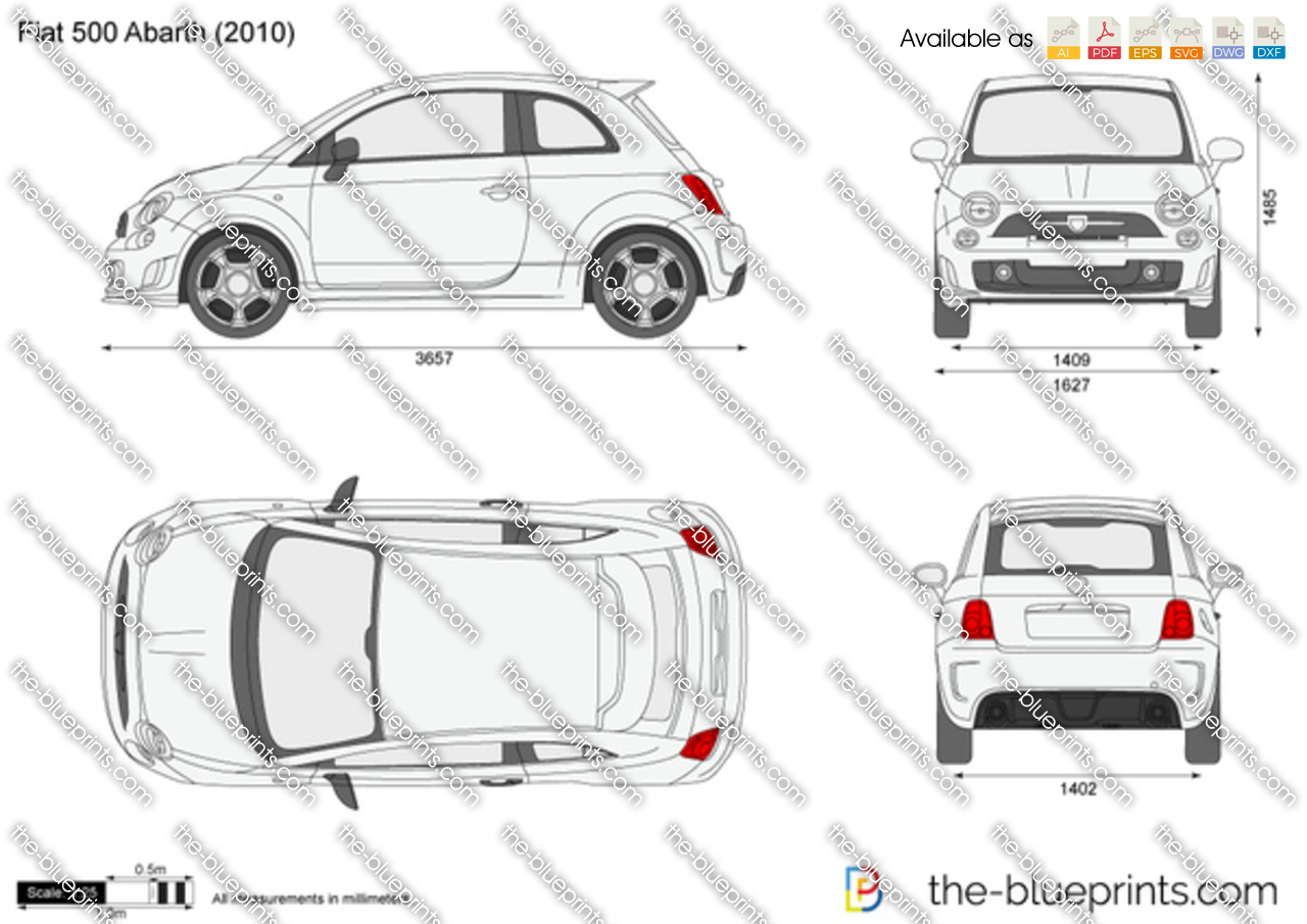 The Blueprints Com Vector Drawing Fiat 500 Abarth