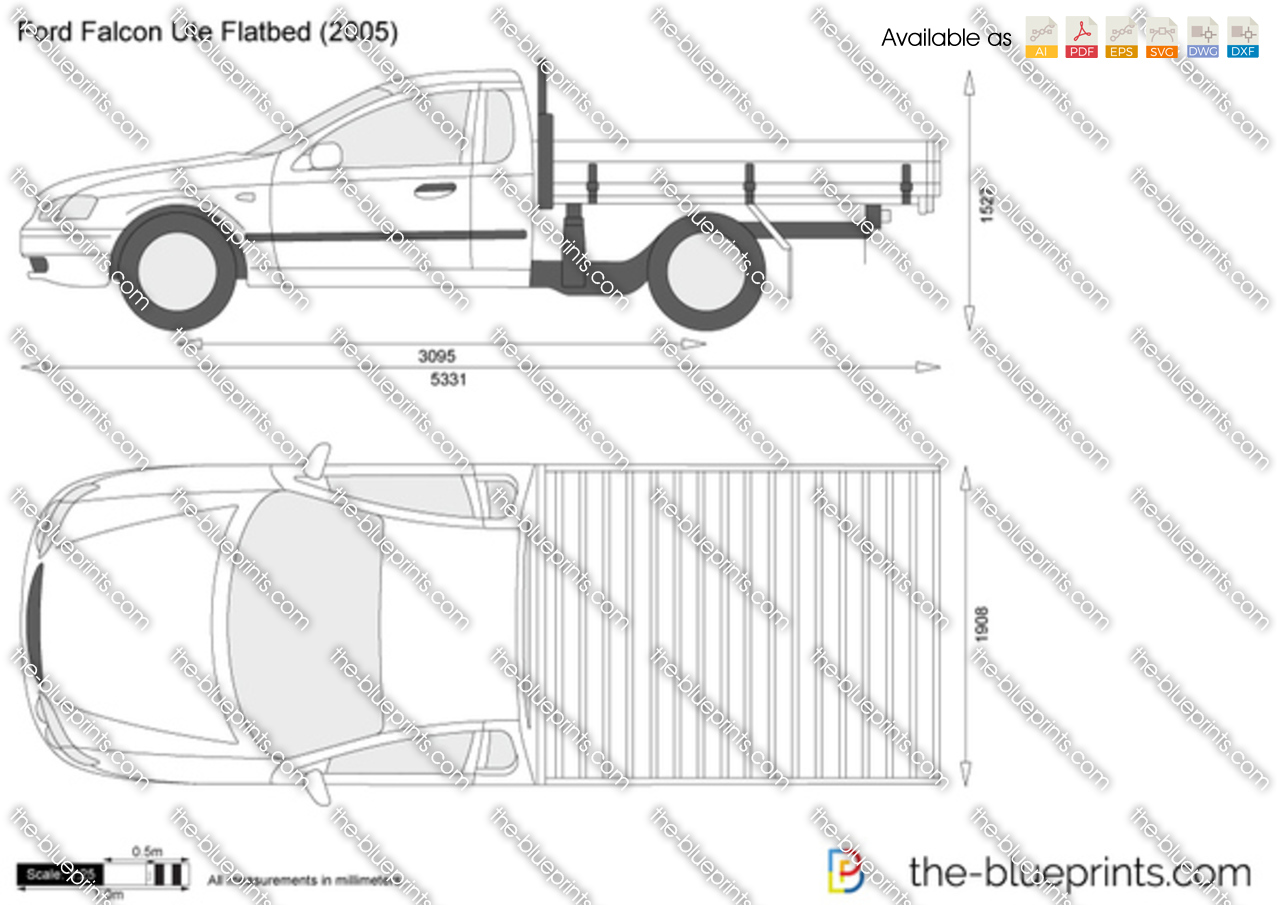The vector drawing ford falcon ute flatbed Blueprints for sale