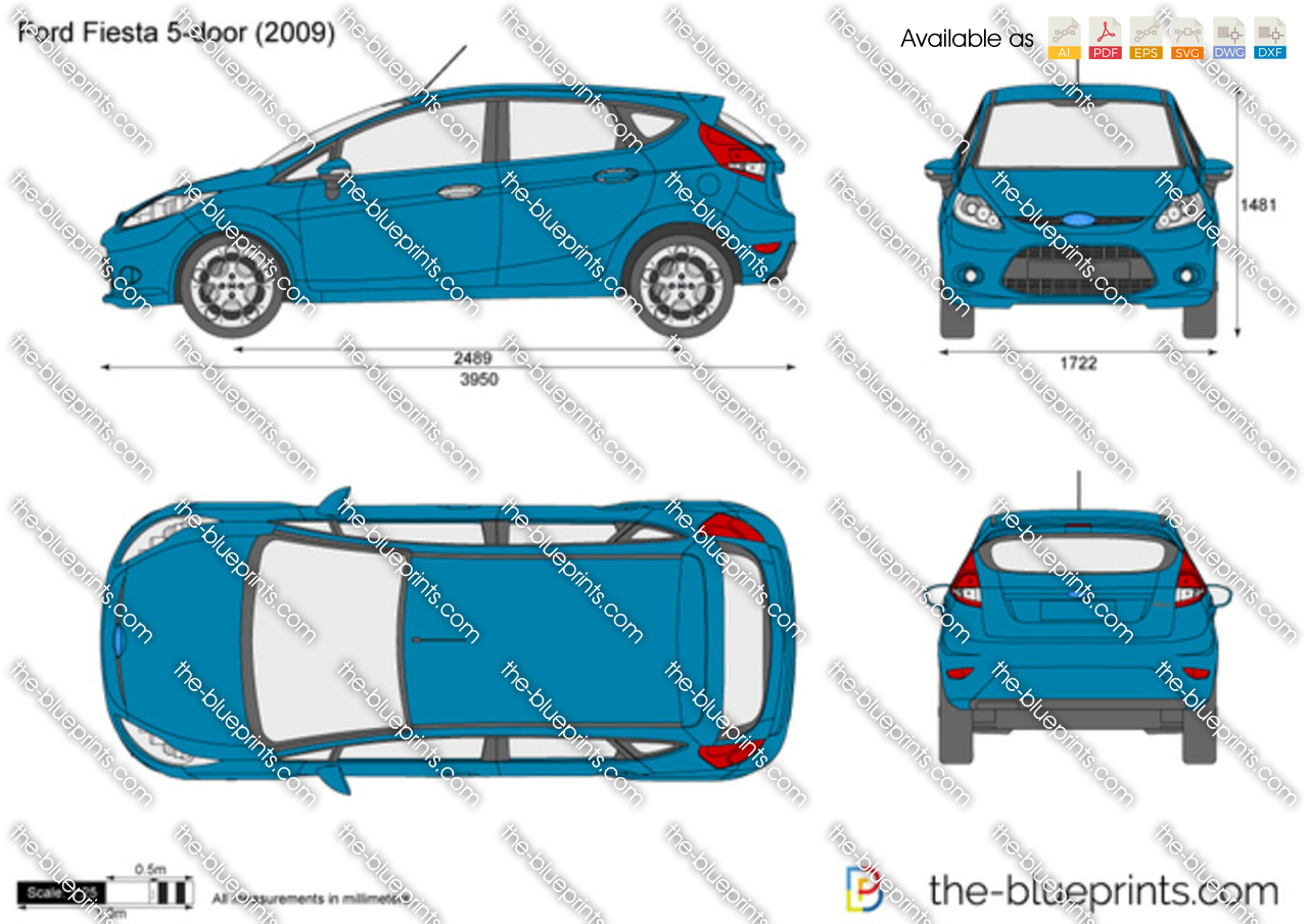 Ford Fiesta 5 Door Vector Drawing