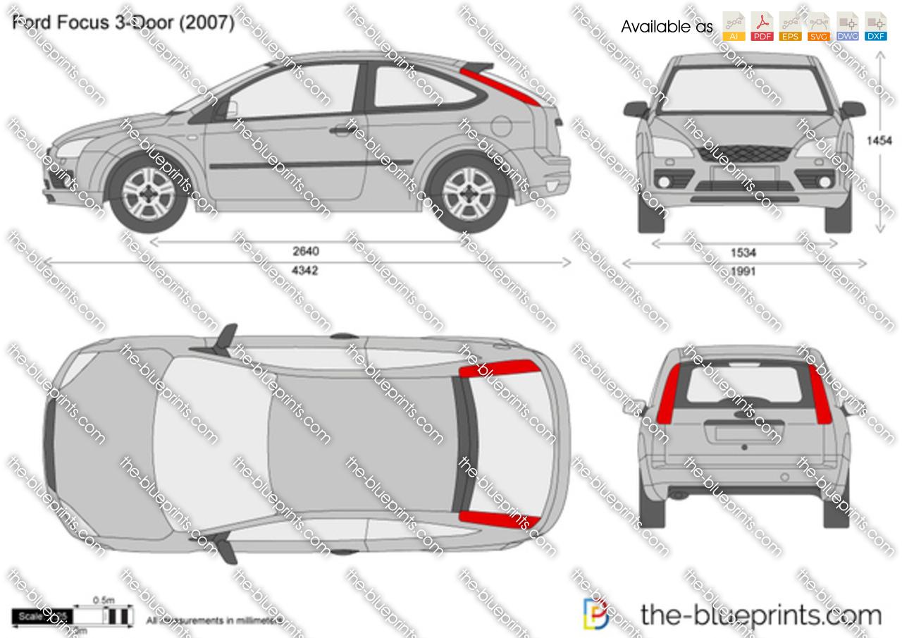 Ford Focus 3 Door Vector Drawing