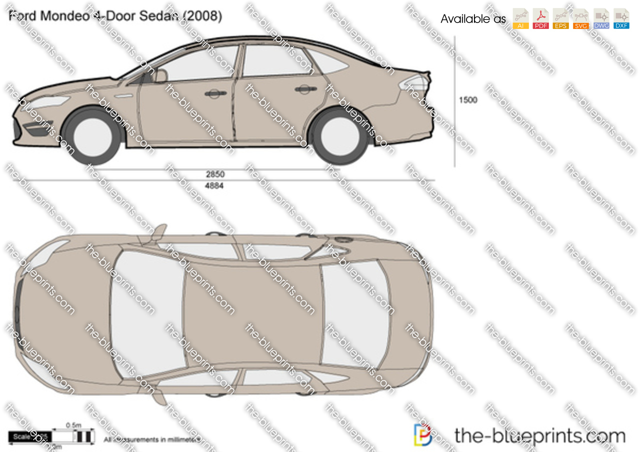 the vector drawing ford mondeo 4 door sedan. Black Bedroom Furniture Sets. Home Design Ideas