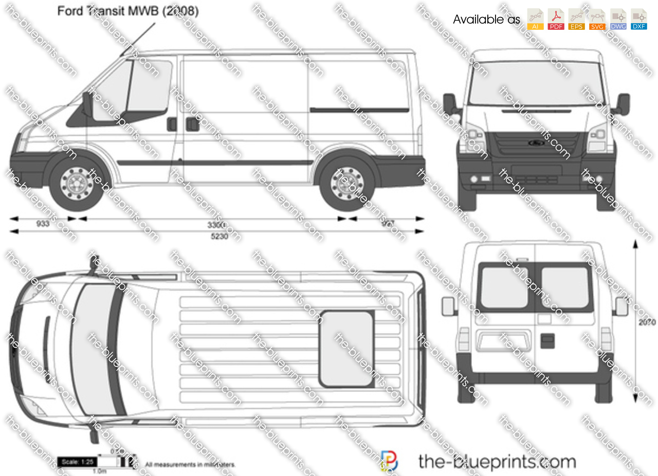 ford transit mwb vector drawing