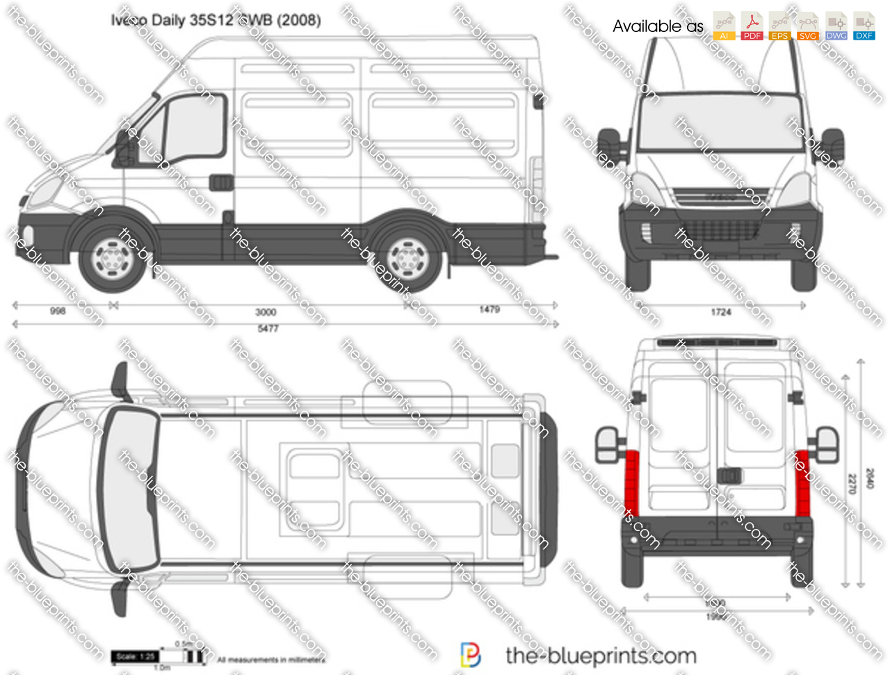 Iveco Daily 35s12 Swb Vector Drawing