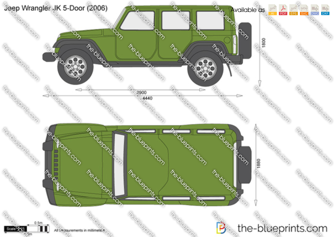 Jeep Wrangler 5 Door Vector Drawing Outline