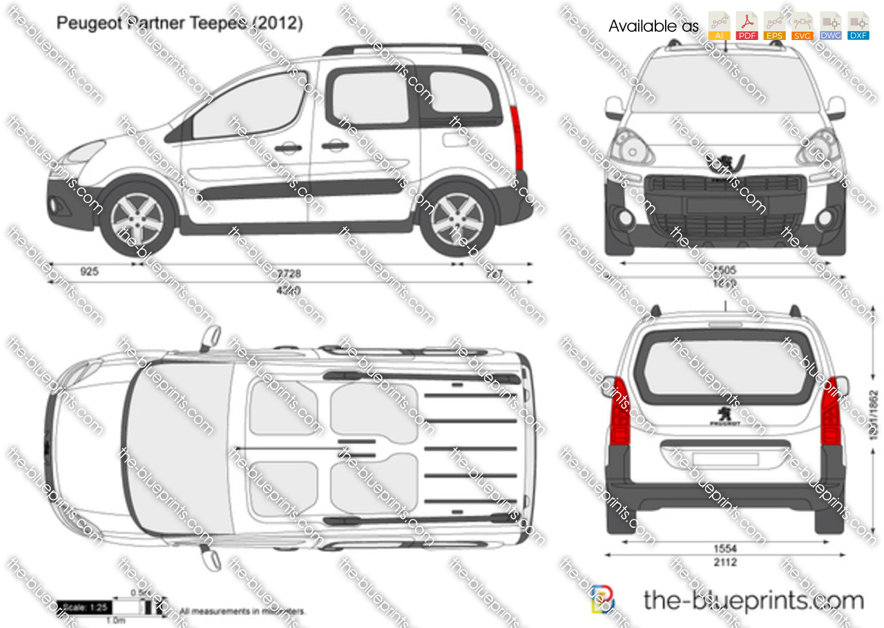 Peugeot Partner Teepee Vector Drawing