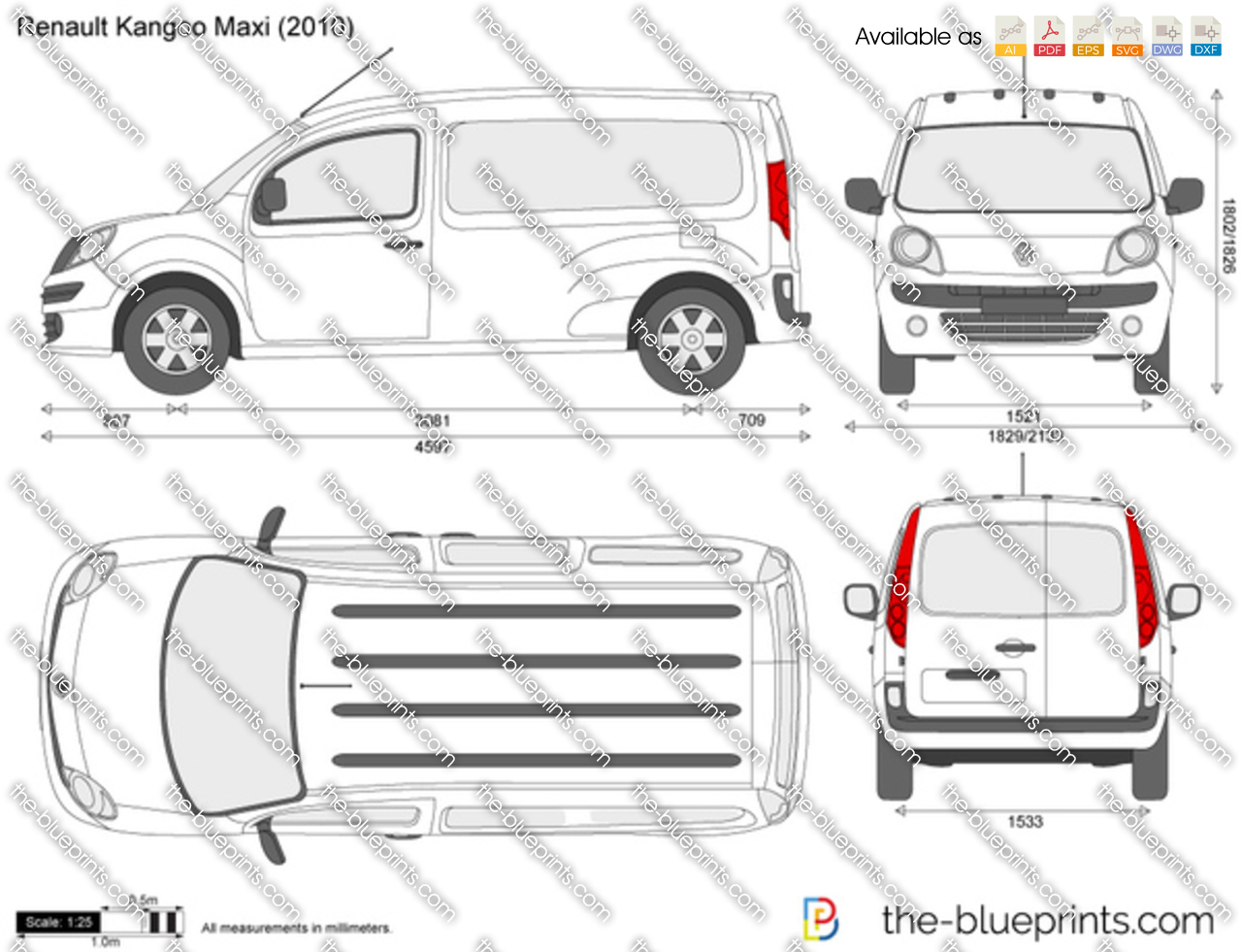 renault kangoo maxi vector drawing