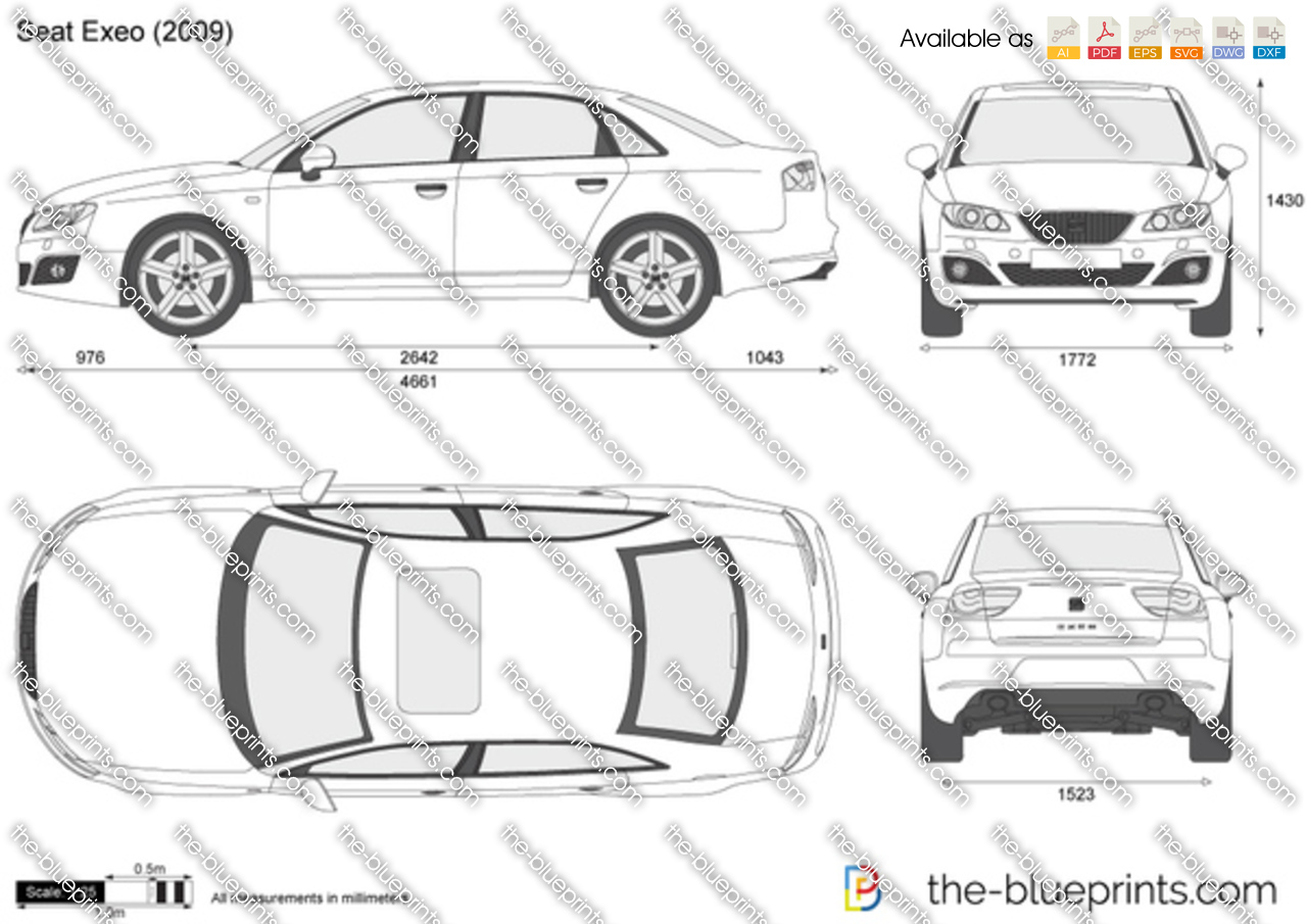 The vector drawing seat exeo - Dimensiones seat ...