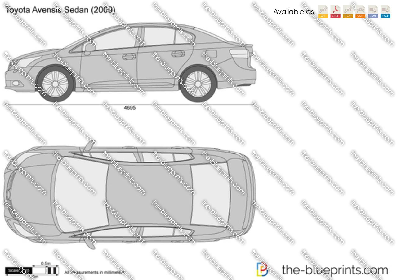 Toyota Avensis Sedan Vector Drawing