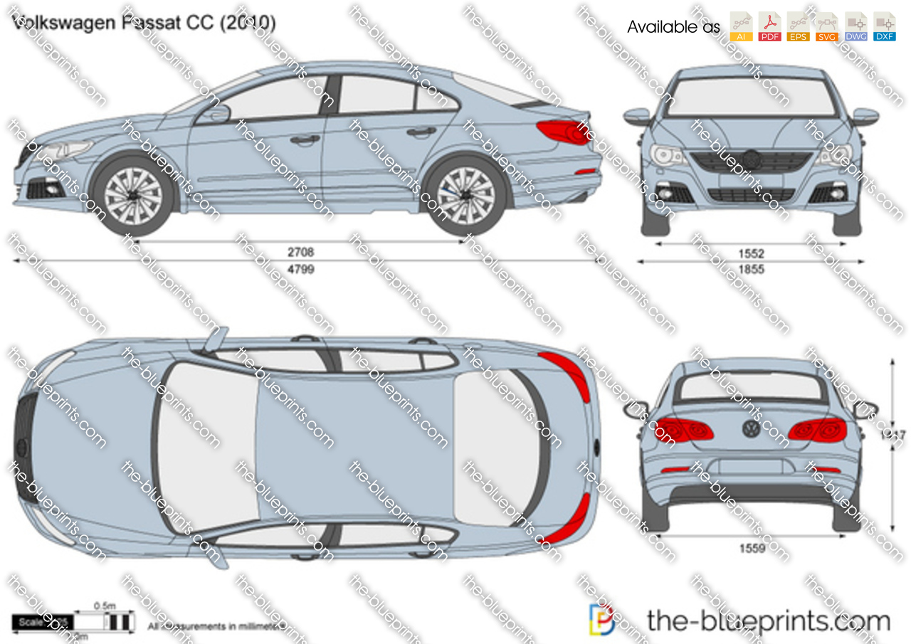 Volkswagen Passat Cc Vector Drawing