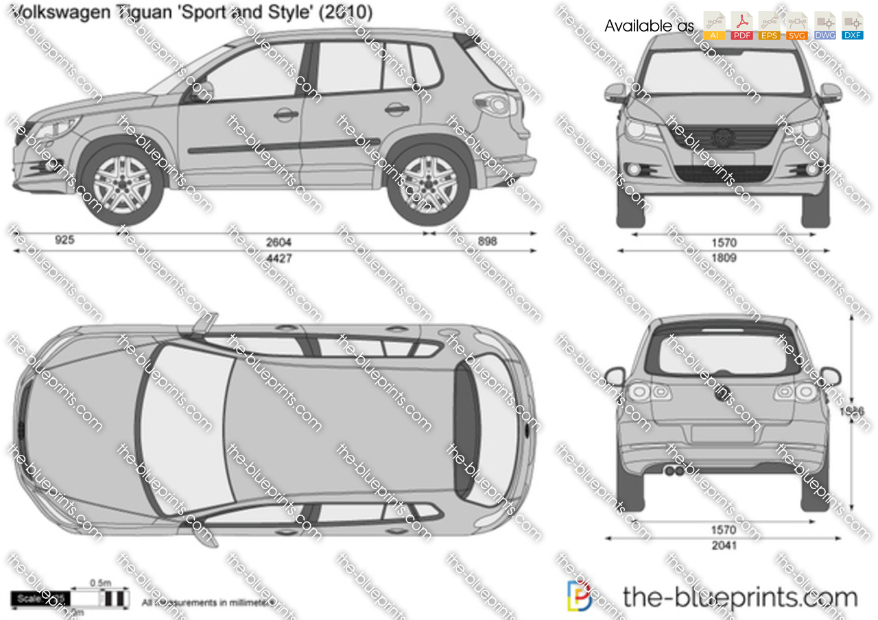 the blueprints vector drawing volkswagen tiguan sport and style