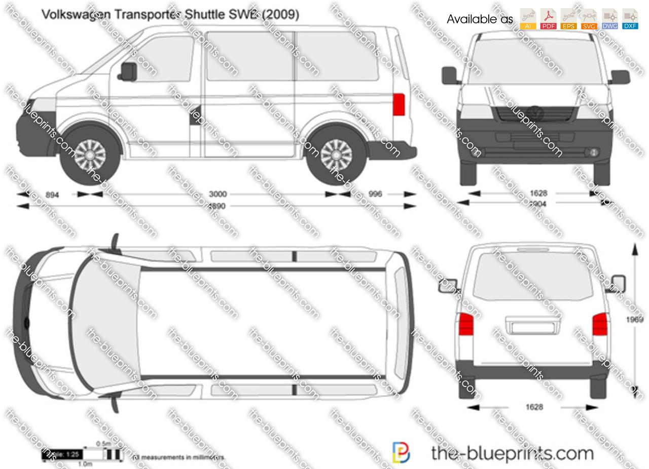 Volkswagen Transporter T5 Shuttle Swb Vector Drawing
