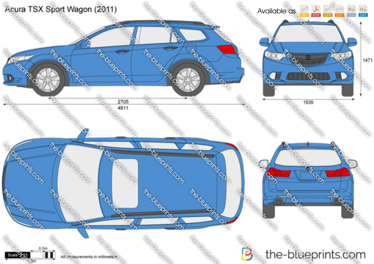 Acura Tsx Sport Wagon Vector Drawing