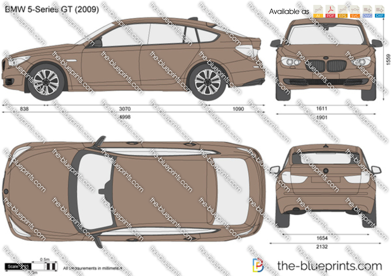 Bmw 5 Series Gt F07 Vector Drawing