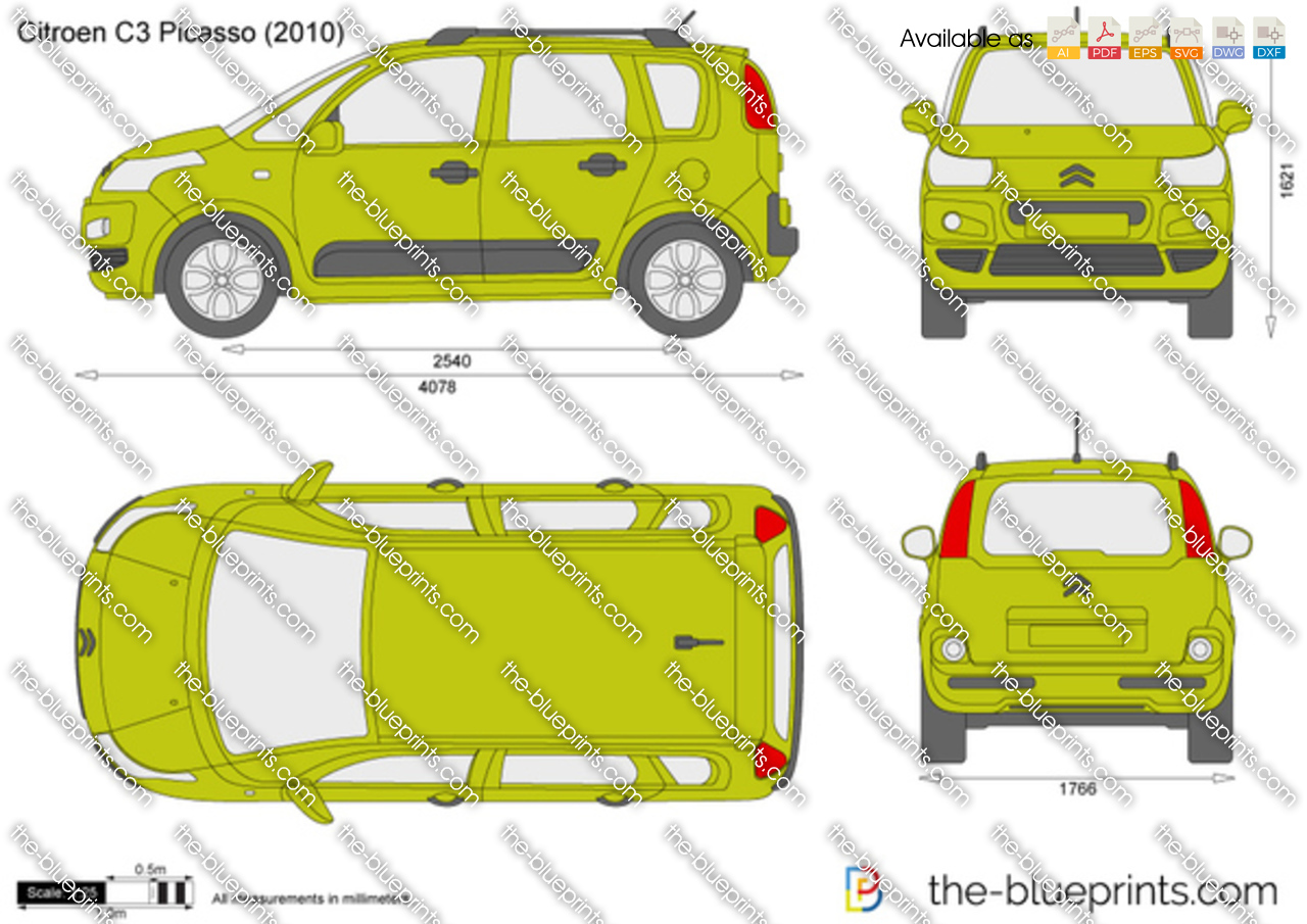 Citroen C3 Picasso Vector Drawing
