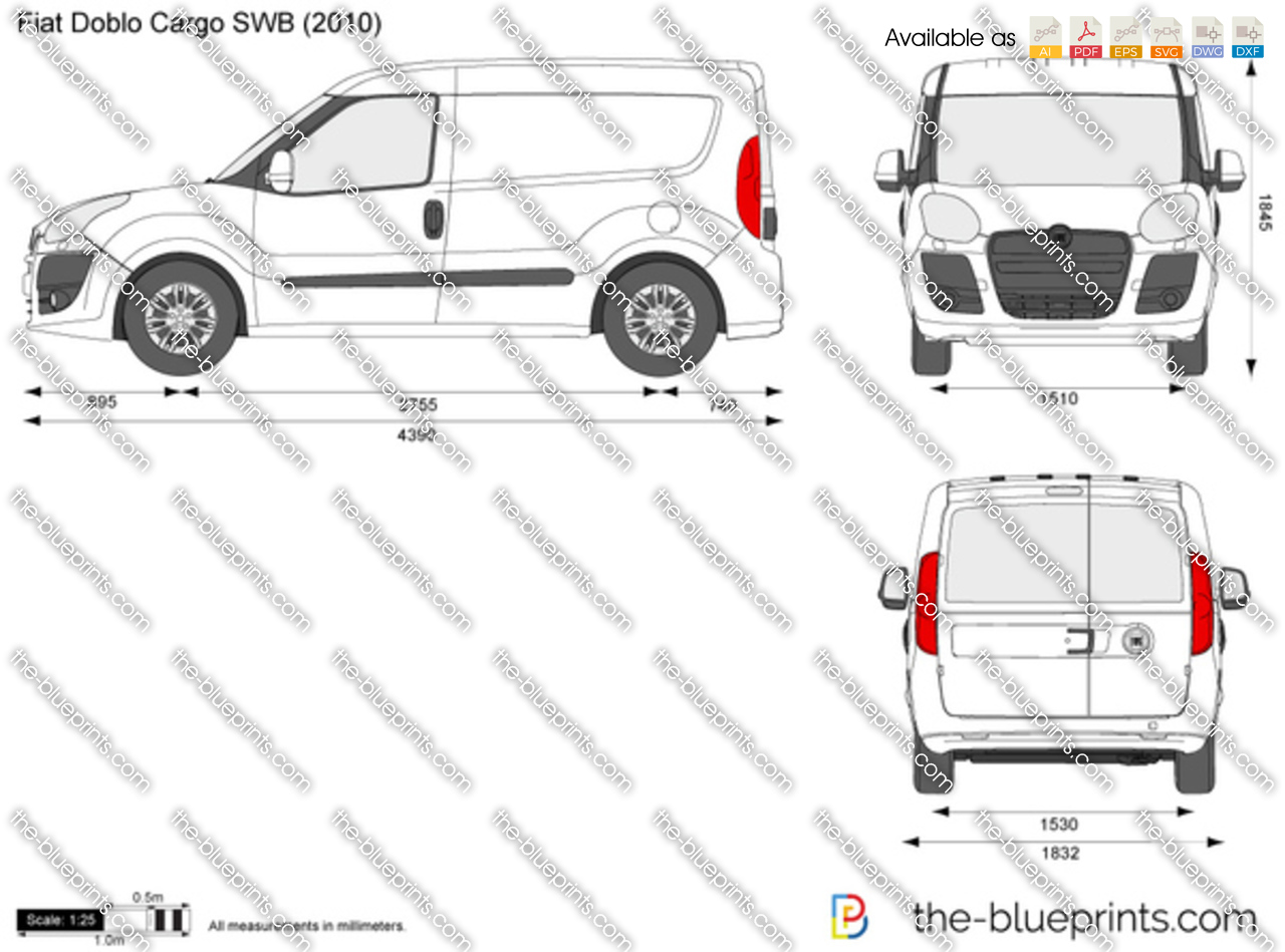 Fiat Doblo Cargo Standard Swb Vector Drawing